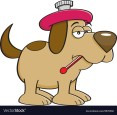 cartoon-of-a-sick-dog-with-a-thermome-vector-9570502